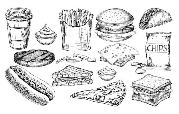 Conjunto grande de comida rápida. conjunto de boceto de ilustración de comida chatarra. artículos de menú de restaurante de comida rápida. Vector Premium