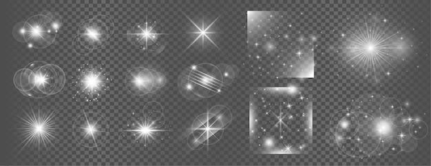 Conjunto grande de destello de lente de efecto de luz transparente brillante blanco vector gratuito