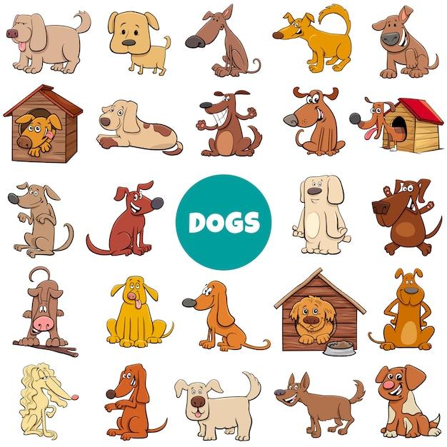 Conjunto grande de personajes de perros y cachorros de dibujos animados Vector Premium