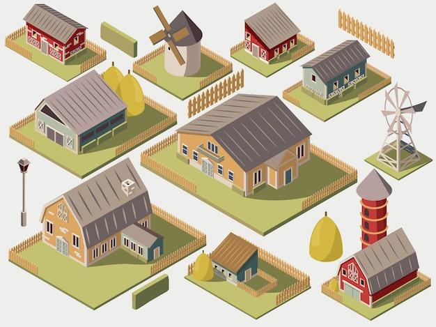 Conjunto de granjas isométricas con molinos de granero y cerca de heno de silo vector gratuito