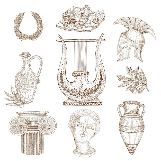 Conjunto de grecia dibujado a mano vector gratuito