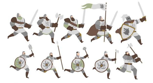 Conjunto de guerreros del ejército del lobo del norte. Vector Premium