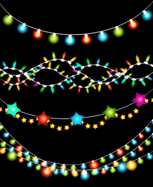 Conjunto de guirnalda de luces de navidad coloridas sobre fondo negro vector gratuito