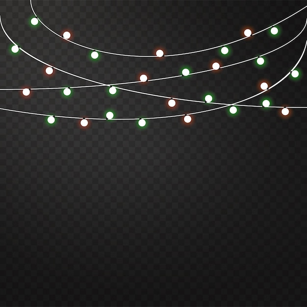 Conjunto de guirnaldas de colores, decoraciones festivas. Vector Premium