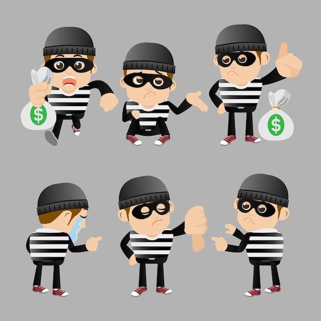 Conjunto de hacker y ladrón en diferentes poses. Vector Premium