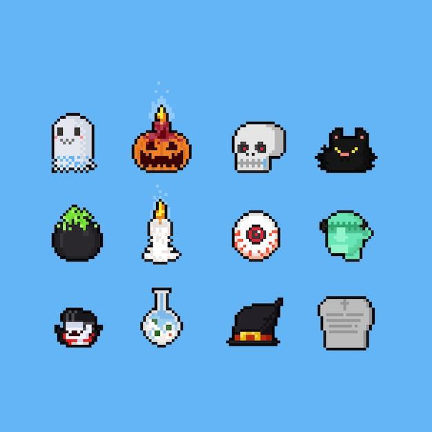Conjunto de halloween de dibujos animados de pixel art. Vector Premium