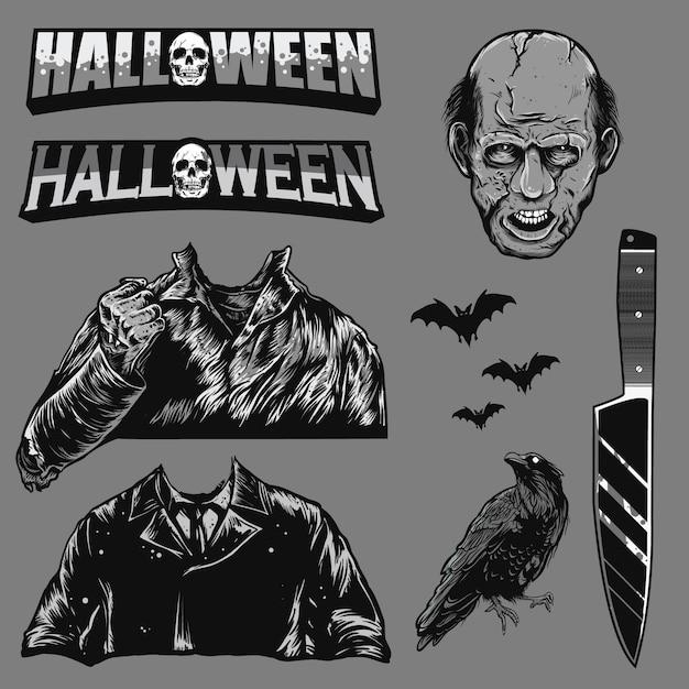 Conjunto de halloween Vector Premium