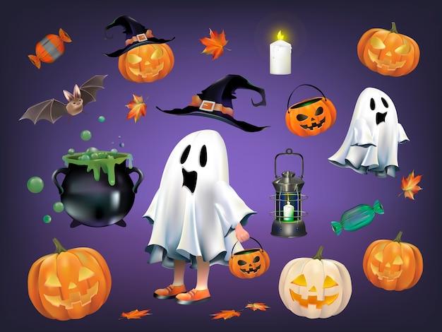 Conjunto de halloween vector gratuito