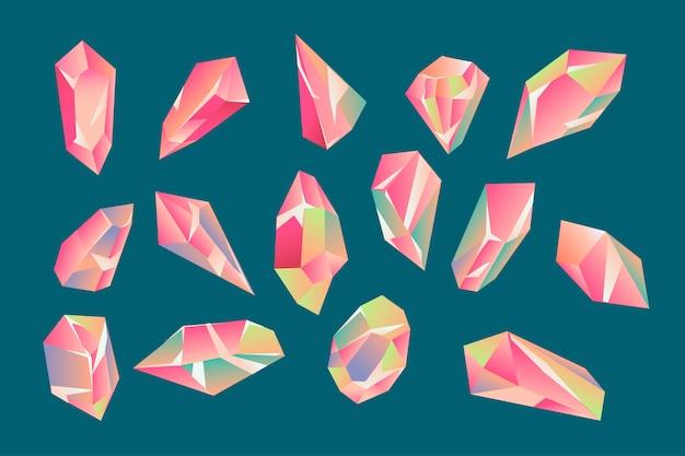 Conjunto de hermosos cristales geométricos y gemas. Vector Premium