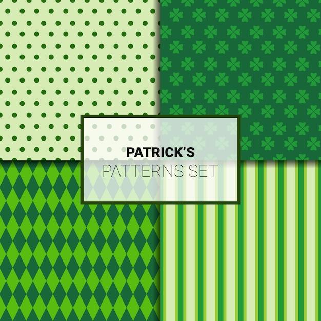 Conjunto de hermosos fondos verdes para patrones sin fisuras del día de san patricio con hojas de trébol Vector Premium