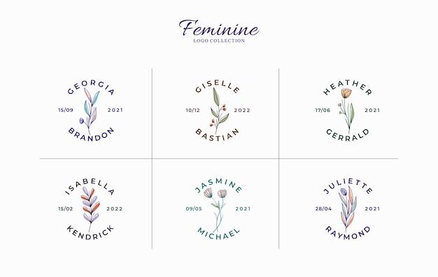 Conjunto de hermosos logotipos florales minimalistas con nombres de novia Vector Premium