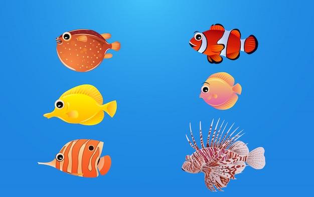 Un conjunto de hermosos personajes de peces de mar Vector Premium