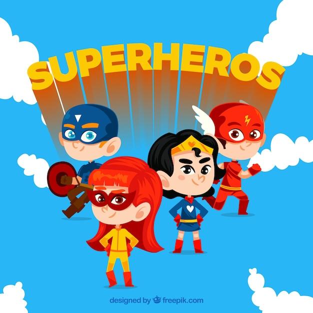 Conjunto héroe de dibujos animados vector gratuito