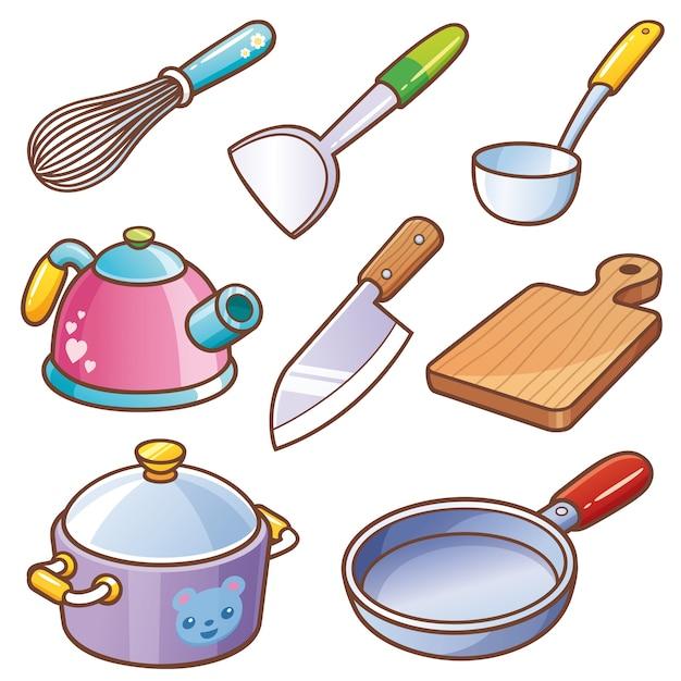 Conjunto de herramientas de cocina Vector Premium