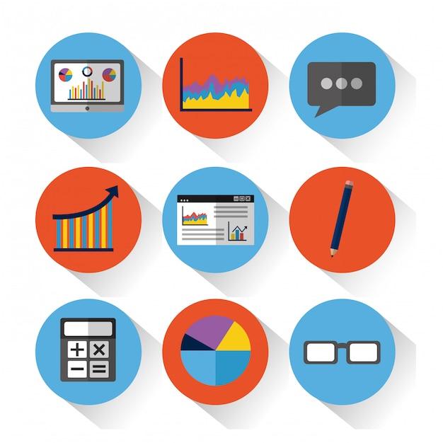 Conjunto de herramientas de datos estadísticos finanzas diagrama y gráfico gráfico de negocios vector gratuito