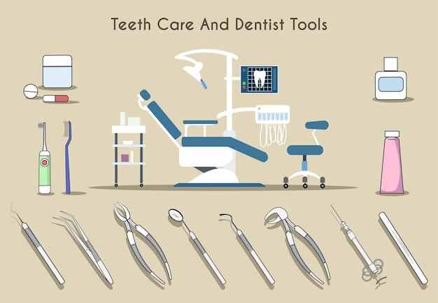 Conjunto de herramientas de dentista y cuidado de los dientes vector gratuito