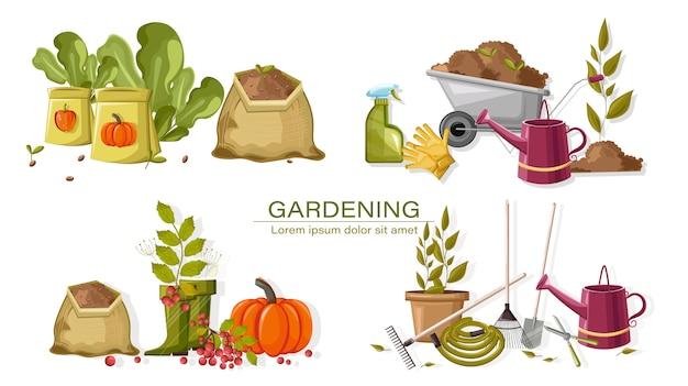 Conjunto de herramientas de jardinería de otoño Vector Premium