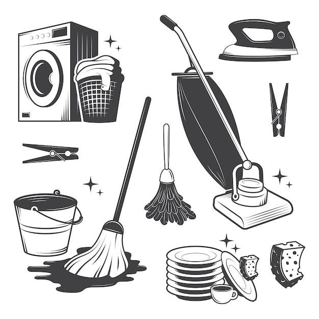 Conjunto de herramientas de limpieza vintage en blanco y negro. vector gratuito