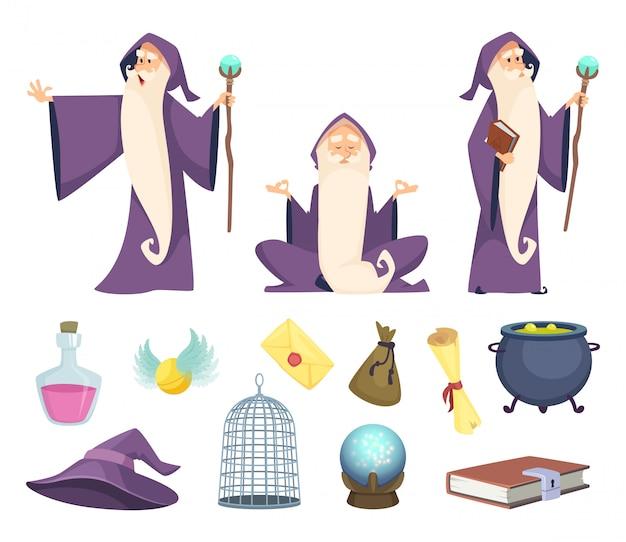 Conjunto de herramientas de mago y personaje mago masculino. Vector Premium