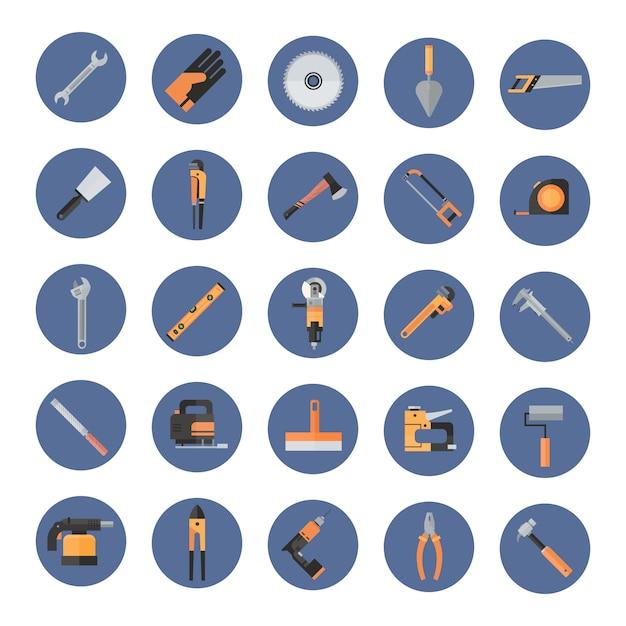 Conjunto de herramientas de mano de trabajo de reparación y construcción, colección de equipos Vector Premium