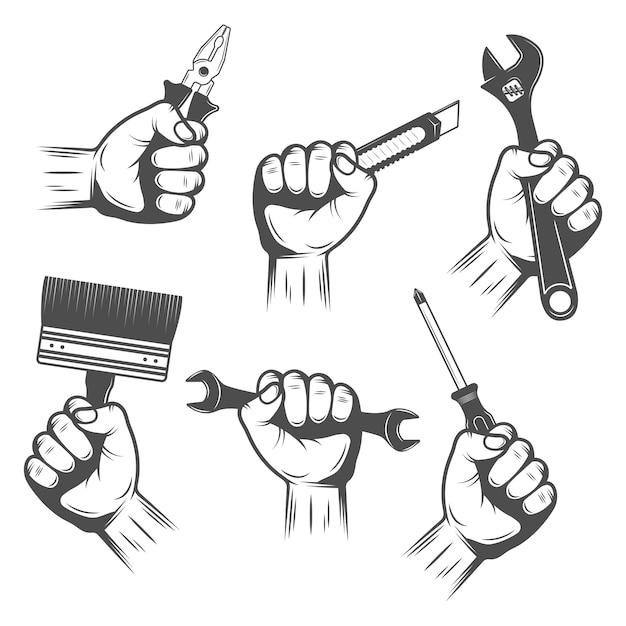 Conjunto de herramientas de trabajo en manos vector gratuito