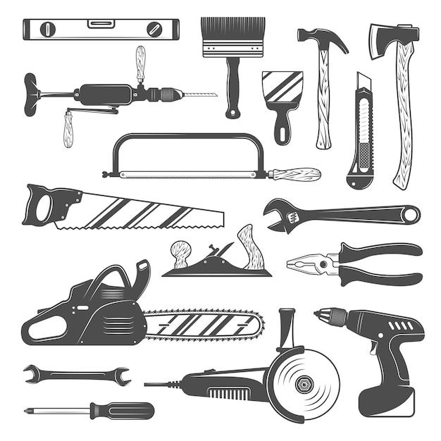 Conjunto de herramientas de trabajo monocromo vector gratuito