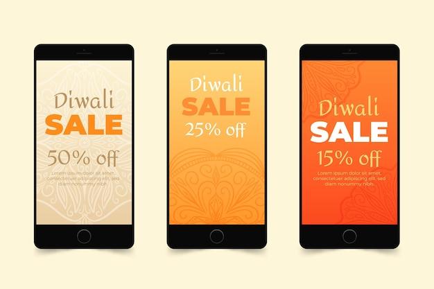 Conjunto de historias de instagram de venta de diwali vector gratuito
