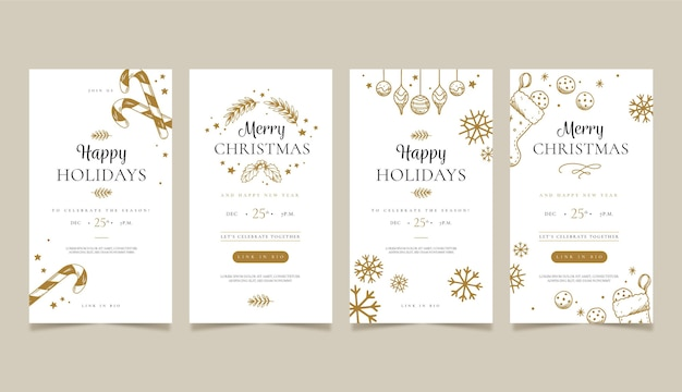 Conjunto de historias de redes sociales navideñas festivas. vector gratuito