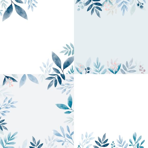 Conjunto de hojas en acuarela con espacio de copia. vector gratuito