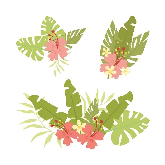 Conjunto de hojas y flores de palma vector gratuito