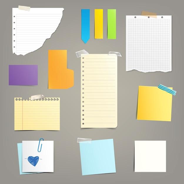Conjunto de hojas de papel diferentes. vector gratuito
