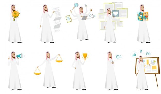 Conjunto de hombre de negocios musulmán Vector Premium