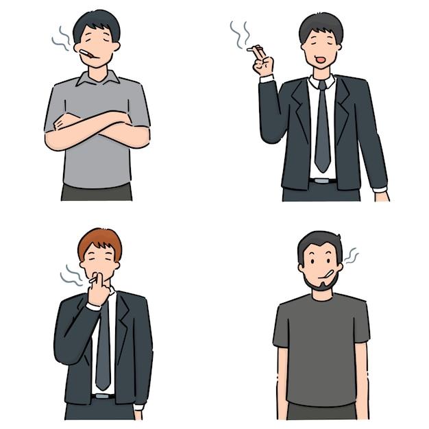 Conjunto de hombres fumando cigarrillos Vector Premium