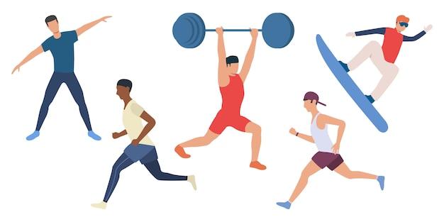 Conjunto de hombres haciendo deporte. vector gratuito