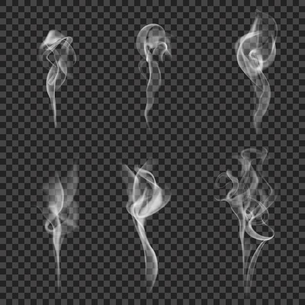 Conjunto de humo realista monocromo vector gratuito