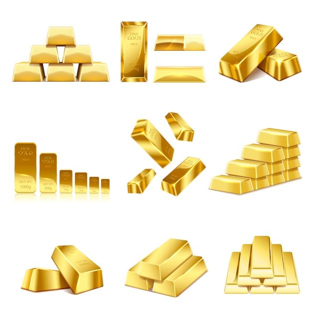 Conjunto de icono de barras de oro Vector Premium