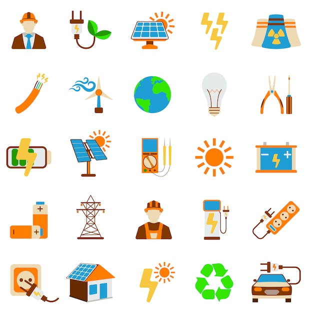 Conjunto de icono de energía solar aislado Vector Premium