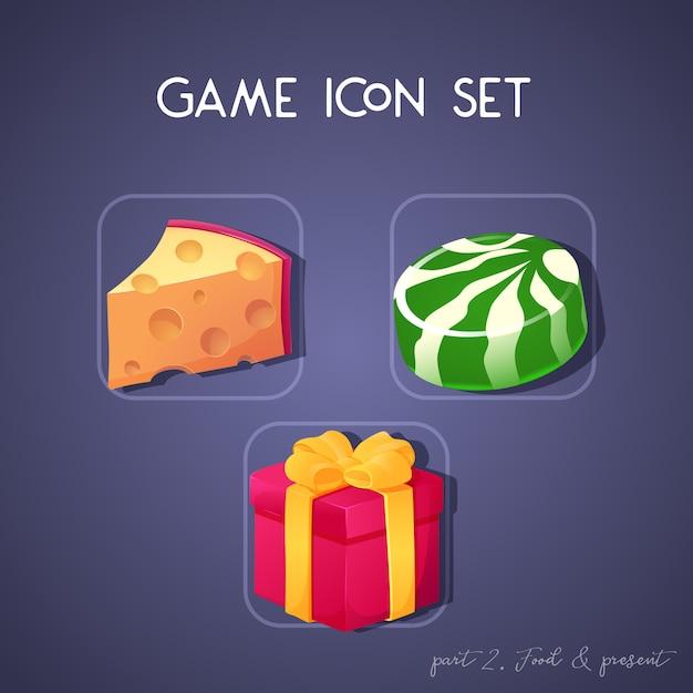 Conjunto de icono de juego en estilo de dibujos animados. alimentación y actualidad: queso, dulces y caja. diseño brillante para la interfaz de usuario de la aplicación Vector Premium