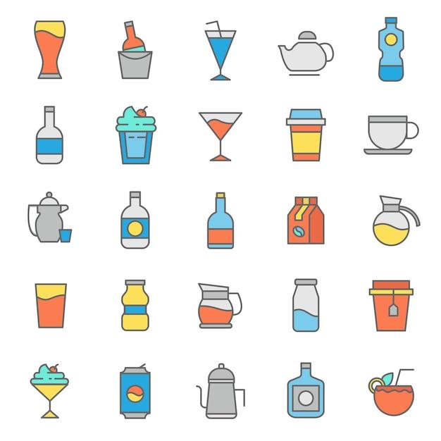 Conjunto de icono de vasos de bebidas Vector Premium