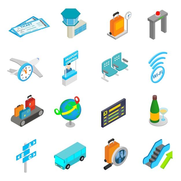 Conjunto de iconos 3d isométricos de aeropuerto Vector Premium