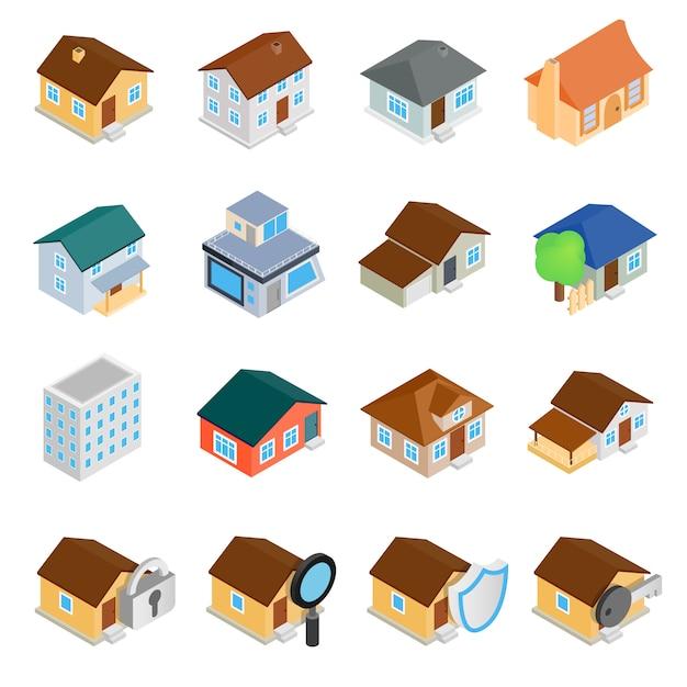 Conjunto de iconos 3d isométricos de casas Vector Premium