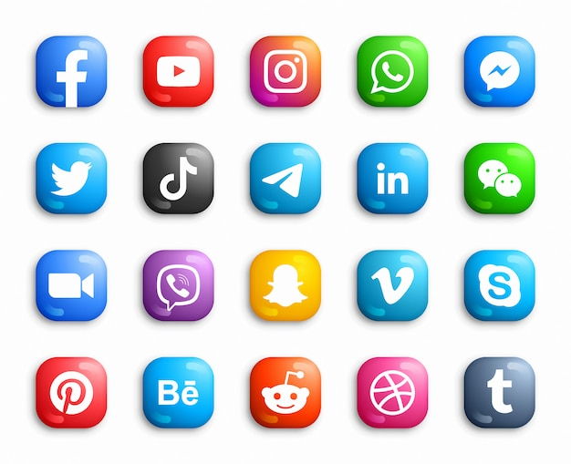 Conjunto de iconos 3d de social media modern ios Vector Premium