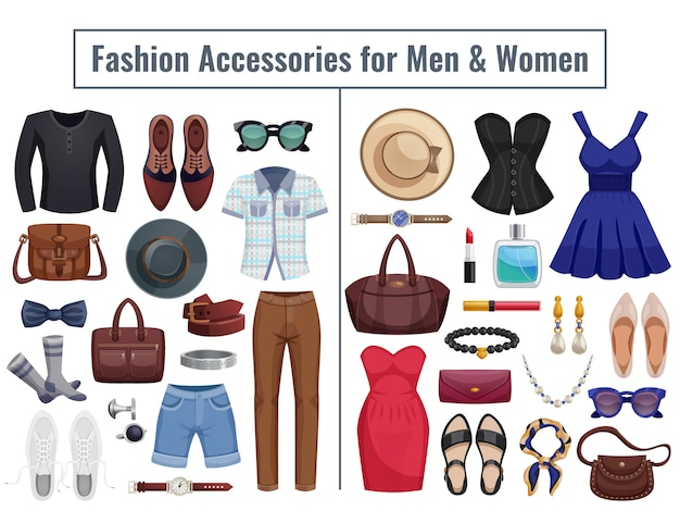 Conjunto de iconos de accesorios para hombres y mujeres vector gratuito