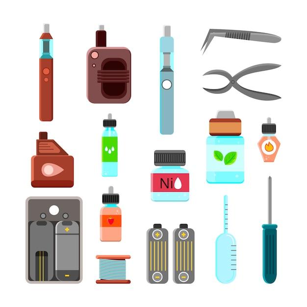 Conjunto de iconos de accesorios vaping vector gratuito