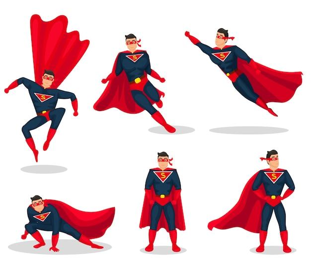 Conjunto de iconos de acción de superhéroe Vector Premium