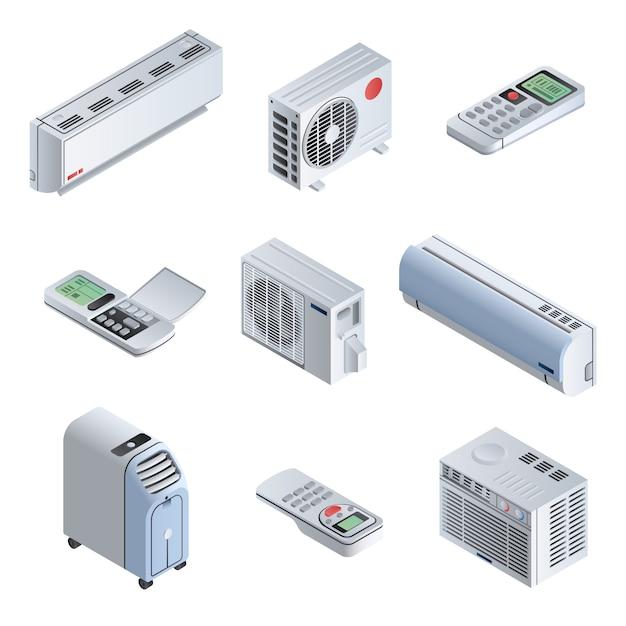 Conjunto de iconos de acondicionador. conjunto isométrico de iconos de vector de acondicionador para diseño web aislado Vector Premium