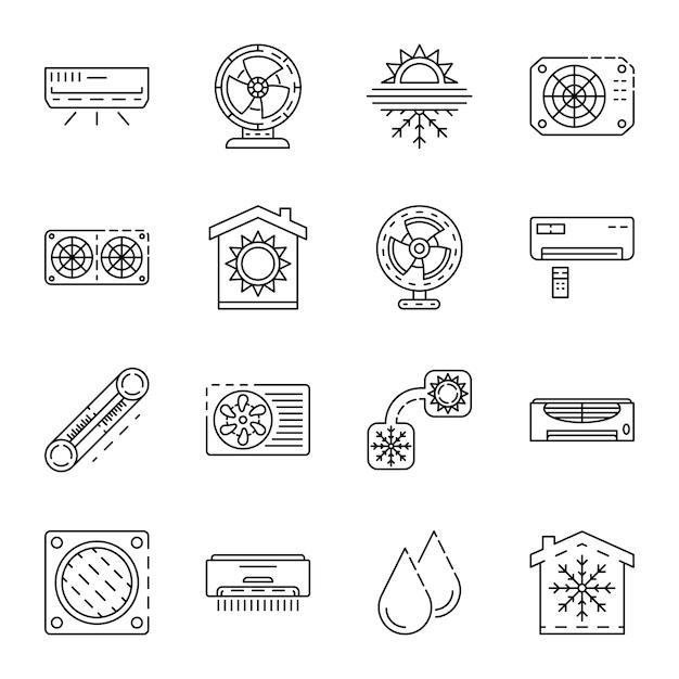 Conjunto de iconos de acondicionador. esquema conjunto de iconos de vector de acondicionador Vector Premium