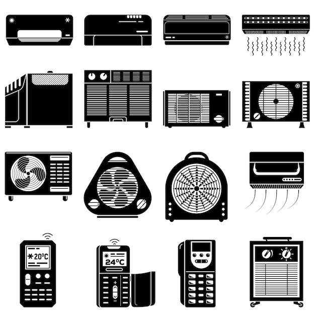 Conjunto de iconos de acondicionador, estilo simple. Vector Premium