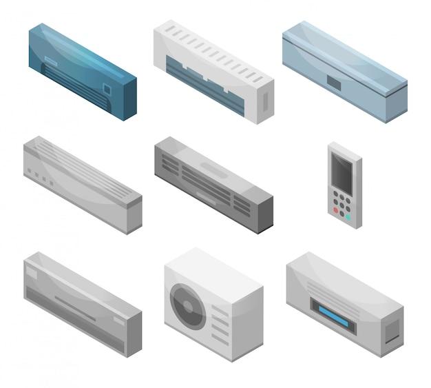 Conjunto de iconos de acondicionador Vector Premium