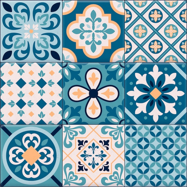 Conjunto de iconos de adornos de baldosas de cerámica de colores y realistas para la creación de diferentes patrones vector gratuito
